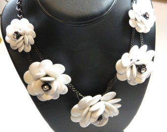 SJK Vintage -- Joan Rivers Signed Statement Necklace with Gunmetal Chain and Large White Plastic Flowers, Rhinestones (1980's)