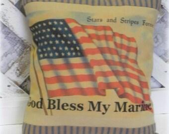 Handmade God Bless My Marine Printed Accent Pillow, Patriotic Decor