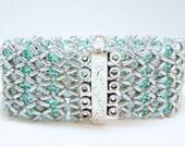 Blue Ice Beadwoven Cuff Bracelet