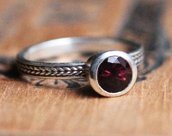 Rhodolite garnet ring, January birthstone ring, wheat braid ring, bezel set ring, 6mm round gemstone stack ring - ready to ship sz 7