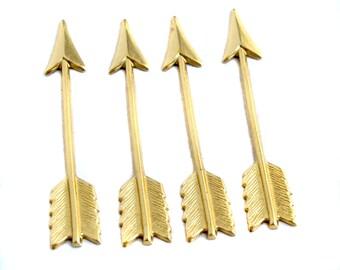Brass Arrow Charms (4X) (M719-A)