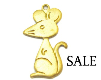 Brass Cute Mouse Charm (16X) (M662) SALE - 50% off