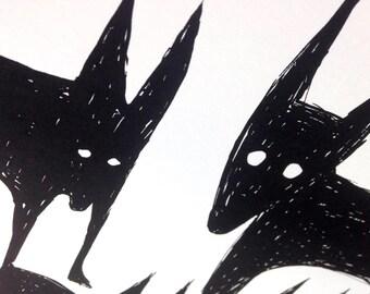 Jackals, screen print wild dogs silkscreen, 12x19