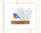 Northern Parula Print -- bird art -- bird art 52 birds stephanie fizer coleman illustration warbler
