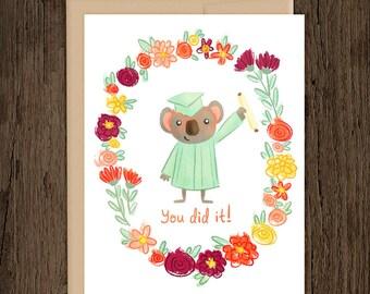 ON SALE Koala Graduation Card - blank card