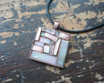 Iridescent Peach Mosaic Pendant with Copper Bezel