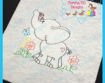 Elephant 1 Color Work Machine Embroidery Design