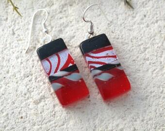 Red Black Earrings, Dichroic Earrings,Red & Silver Earrings, Fused Glass Jewelry, Dichroic Earrings, Dangle Drop Earrings 061115e100