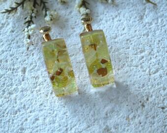 Amber Glass Earrings, Dichroic Earrings, Dichroic Fused Glass Jewelry, Fused Glass Jewelry,Clip Earrings, Amber Earrings  062815e104