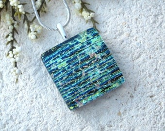 Golden Green Blue Rainbow Necklace, Dichroic Glass Pendant, Dichroic Fused Glass Jewelry, Green Necklace, Dichroic Glass  070915p106