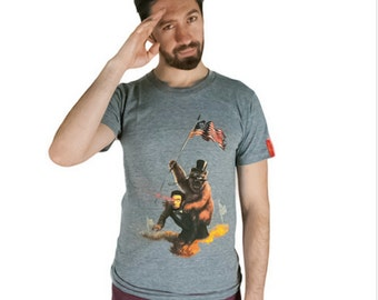 Lincoln Shirt, Abe Lincoln and Teddy Roosevelt Shirt, President Shirt, Abe Lincoln Shirt, Lincoln with Laser Beam, Bear on Lincoln,