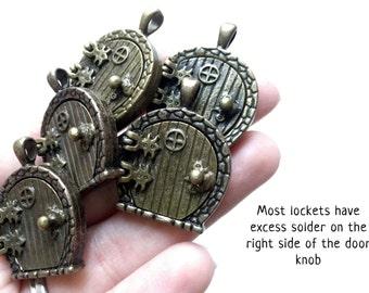 DEFECTED - FIVE Misfit Antiqued Brass Fairy Door Lockets - DEFECTED-