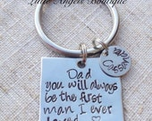 Dad Wedding Gift from Daughter Personalized Custom Hand Stamped keychain