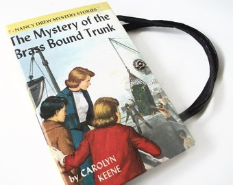 Book Purse Nancy Drew Mystery of Brass Bound Trunk Vintage Handbag Upcycled Book Bag 1940