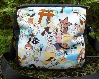 Kawaii Shoulder bag, zippered cross body bag, medium sized, Japanese Girls Kawaii, The Raccoon