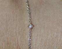 "Carre Cut Diamond Bracelet 18K White Gold Linked Chain with Rose Gold Bezel 7 1/2"""