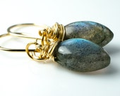 Labradorite Smooth Marquise Gemstone Gold Earrings