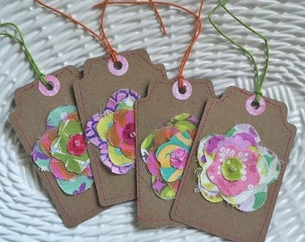 Tags, Gift Tags, Fabric Gift Tags, Sewn Gift Tags, Scrapbooking Tags - Set of 4 Floral 06