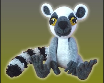 Amigurumi Pattern Crochet Lenny Lemur DIY Instant Digital Download PDF