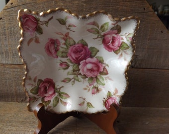 Vintage James Kent, Square Nut Dish, Mint Dish, Candy Dish, Pink Roses, Made in England, Shabby Table