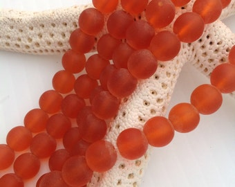 Sea glass bead~8 mm orange beach glass strand~cultured glass 26 pc~round drilled~recycled frosted bead~seaglass jewelry,earring,supplies