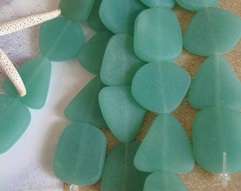 Seafoam green Sea glass bead,cultured beach glass-drilled glass bead-flat glass-recycled green glass-large glass bead strand-frosted glass