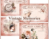 Vintage Memories Post Card Collages for Tags, Scrapbooks, Journals Victorian INSTANT DOWNLOAD Digital Printable