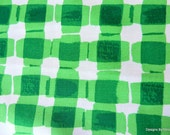 "One Yard Cut Quilt Fabric, Fun Green and White Plaid Pattern, ""Mad for Melon"" by Maria Kalinowski for Kanvas, Quilt Shop Quality, Supplies"