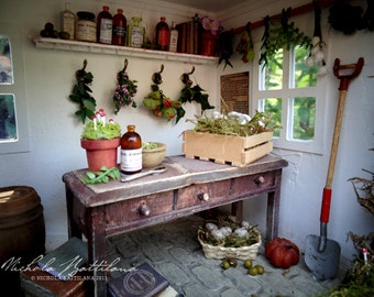 The Wortcunners Shed: A Miniature Roombox for Herb Fairies