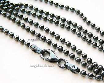 20 inch Dark Oxidized 925 Sterling Silver 1.5mm Ball Chain Necklace FC5Z
