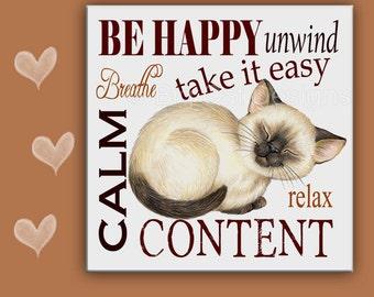 CAT SPOON REST - Cat Tile - Cat Trivet - Siamese Cat - Cat Sign - Cat Sign - Kitchen Cat