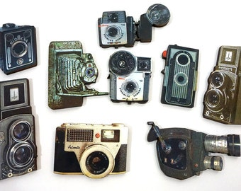 Vintage Camera Collection - 9 Laser Cut Wooden Craft Pieces