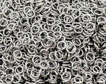 1000pc 4mm antique silver finish jump rings gauge 20-2844x5
