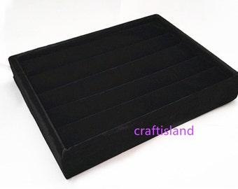 1PC Black Velveteen Rings Jewelry Display Tray 20x15x3cm