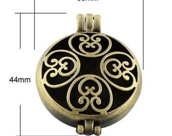 2pc 44x33mm antique bronze finish metal photo locket pendant-9962