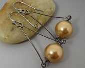 Gold South Sea Shell Pearl Sterling Silver Drop Earrings Oxidized