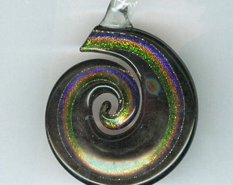 60x45mm Black and Gold Swirl Flat Lampwork Focal Pendant