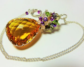 Large Golden Yellow Natural Citrine Faceted Pear Briolette (67cts) and Sterling Silver Necklace