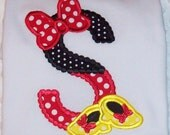Minnie Mouse Applique Initial with Bow and Shoes Short or Long Sleeve Ruffle T-shirt  - Minnie Birthday Party - School - vacation