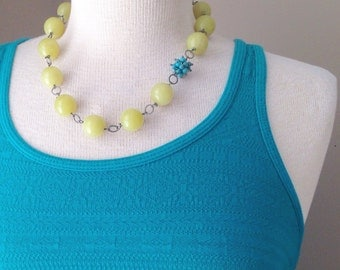 """Genuine Stone Necklace, """"New Jade"""" with Asymmetrical Genuine Turquoise Cluster, Yellow and Blue, handmade, stone, gunmetal"""