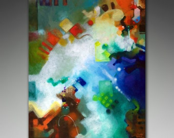 Giclee print on stretched canvas from my original abstract painting Third Level Harmonics, 30x40