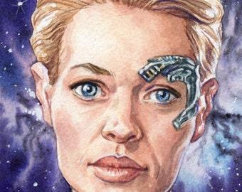 Original Watercolor Painting Art Star Trek Voyager Seven of Nine Portrait 4 x 6 Inches