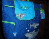 Personalized Stephen Joseph Quilted Back Pack Shark by Never Felt Better