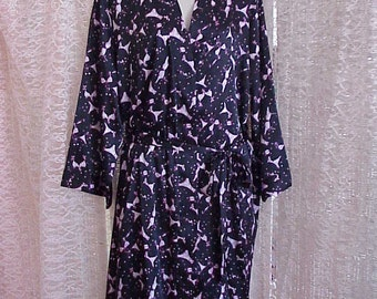 Vintage Silky Fabric Women's Medium Length Robe XXL