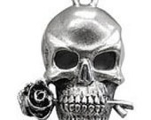 Skull with rose charm -2- grateful dead skull with rose charm pewter charm 24x18x5mm large silver colored charm or small skull pendant