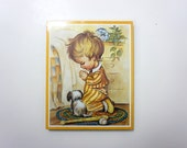 PRAYING BOY and his DOG . print by Coby . new in a pack on a cork board