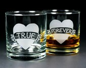 2 Tattoo Heart Lowball Glasses - Set of 2 - Dad, Mom, Donuts, True, Love, Forever - custom banner text