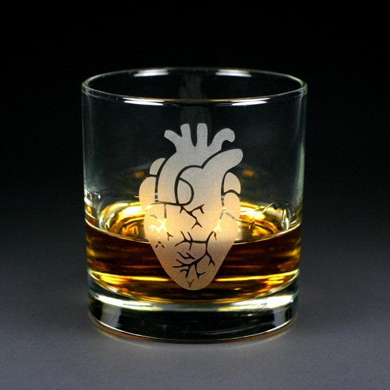 Anatomical Heart - Etched Lowball Glass