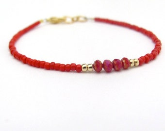 Red Bracelet, Red Friendship Bracelet, Crystal Beads, Seed Bead Bracelet, Friendship Bracelet, Minimal Bracelet, Beaded Bracelet, Bright Red