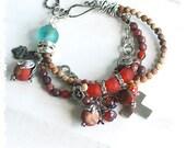 Multi strand boho chic bracelet - Chunky multistrand bracelet - Beaded bracelet - Gemstone bracelet - Gypsy bracelet - Bohemian bracelet